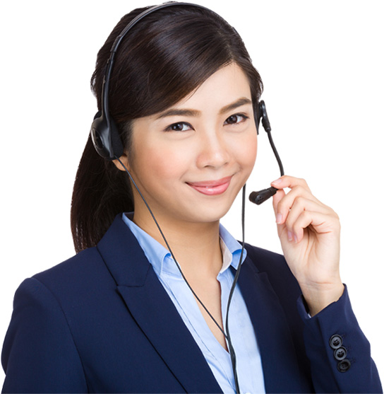 Smiling outbound sales agent