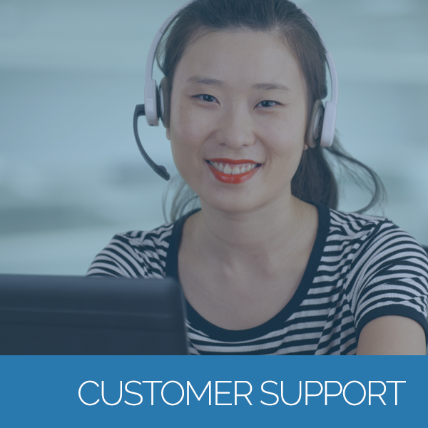 Smiling customer support agent